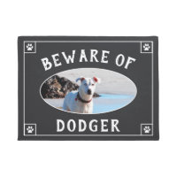 Beware of Dog Name - Photo Doormat