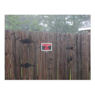 Beware of Dog Rain Postcard