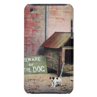 Beware of dog sign with small dog barely there iPod cover