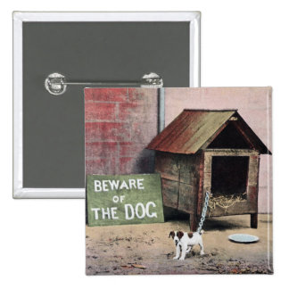 Beware of dog sign with small dog button