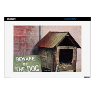 "Beware of dog sign with small dog decal for 15"" laptop"