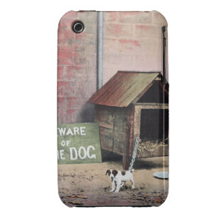 Beware of dog sign with small dog iPhone 3 case