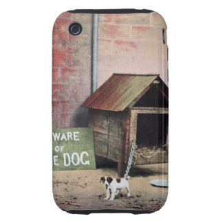 Beware of dog sign with small dog iPhone 3 tough case
