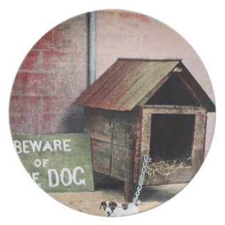 Beware of dog sign with small dog melamine plate