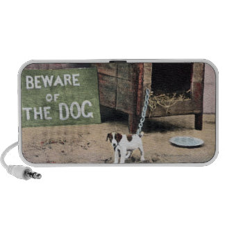 Beware of dog sign with small dog mini speaker