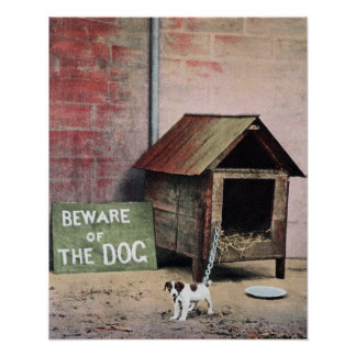 Beware of dog sign with small dog poster
