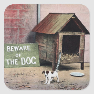 Beware of dog sign with small dog square sticker