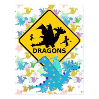 Beware of Dragons Blue Cartoon Dragon Postcard