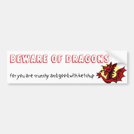 BEWARE OF DRAGONS BUMPER STICKER