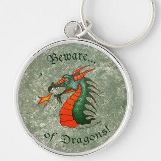 Beware of Dragons Green Texture Look Keychain