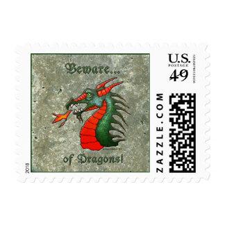 Beware of Dragons Postage Stamp