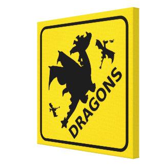 Beware of Dragons Warning Sign Canvas Prints