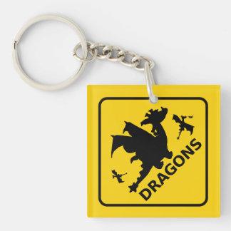 Beware of Dragons Warning Sign Keychain