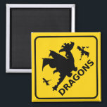 """Beware of Dragons Warning Sign Magnet<br><div class=""""desc"""">Beware of Dragons Warning Sign Fidge Magnet. International style road and highway yellow and black warning sign advising of dragon activity. This funny dragons road sign magnet is fully customizable,  add your texts and images! A great dragon gift for the big little dragon fan!</div>"""