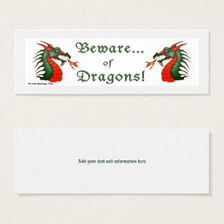 Beware of Dragons White Mini Business Card
