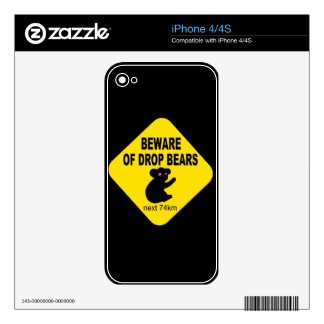 Beware of Drop Bears Humorous Australian Legend Decals For The iPhone 4