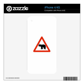 Beware of Elephants, Traffic Sign, Cambodia Decal For The iPhone 4S