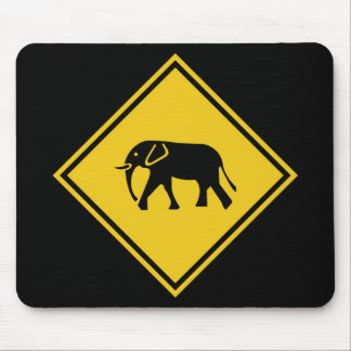 Beware of Elephants, Traffic Sign, Malaysia Mouse Pad