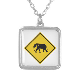 Beware of Elephants, Traffic Sign, Malaysia Square Pendant Necklace