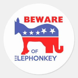 BEWARE OF ELEPHONKEY - activism/libertarian/usa Classic Round Sticker