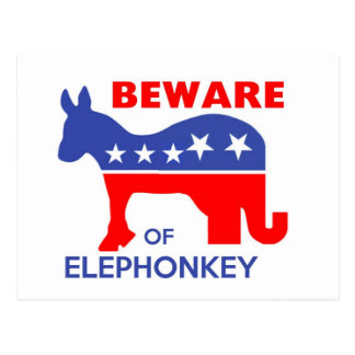 BEWARE OF ELEPHONKEY - activism/libertarian/usa Postcard