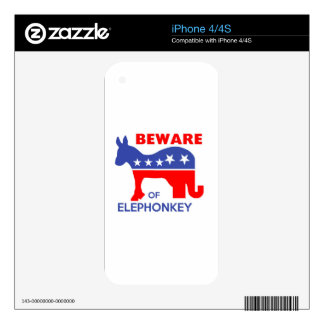 BEWARE OF ELEPHONKEY - activism/libertarian/usa Decal For The iPhone 4