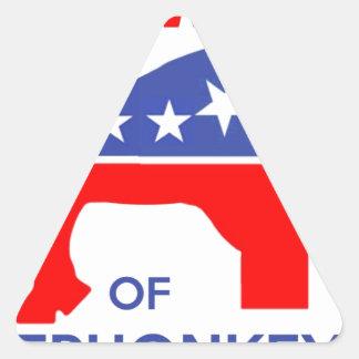 BEWARE OF ELEPHONKEY - activism/libertarian/usa Triangle Sticker