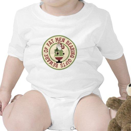 Beware Of Fat Men Funny Christmas Baby Bodysuit