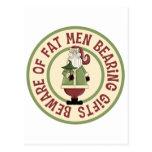 Beware Of Fat Men Funny Christmas Gift Postcards