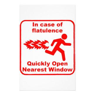 Beware of Flatulence Stationery Design