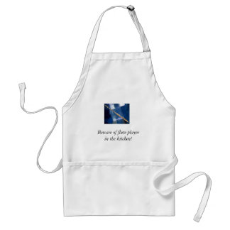Beware of flute player in the kitchen adult apron