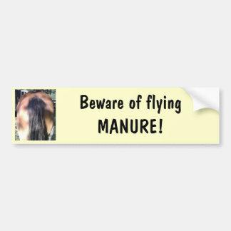 Beware of Flying Horse MANURE Bumper Sticker