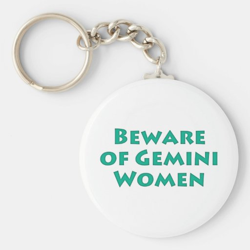 Beware of Gemini Women Basic Round Button Keychain