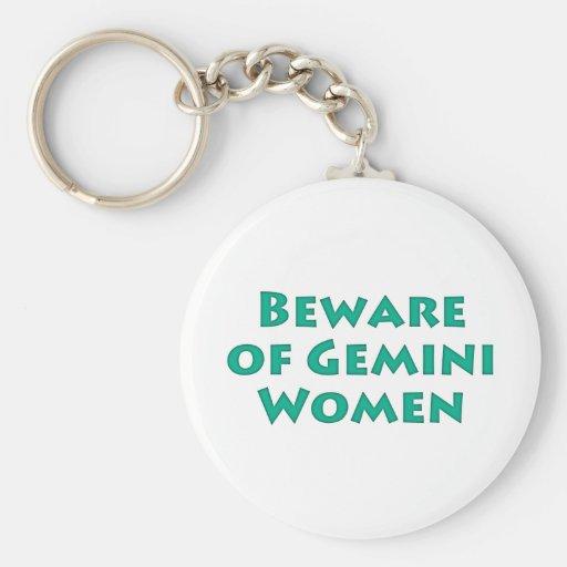 Beware of Gemini Women Keychain