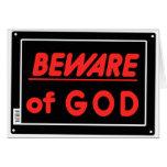 Beware of God Parody Yard Sign Greeting Card