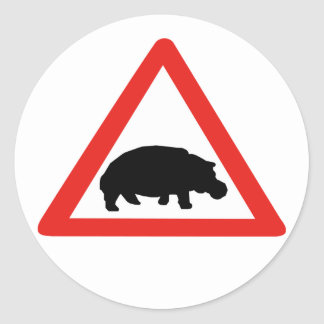 Beware of Hippopotamuses, Traffic, South Africa Classic Round Sticker