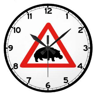 Beware of Hippopotamuses, Traffic, South Africa Large Clock
