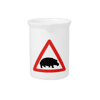 Beware of Hippopotamuses, Traffic, South Africa Drink Pitcher