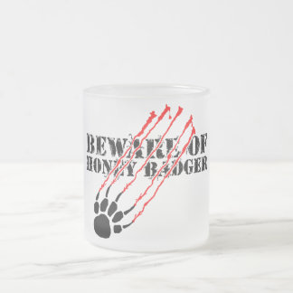 Beware of honey badger frosted glass coffee mug