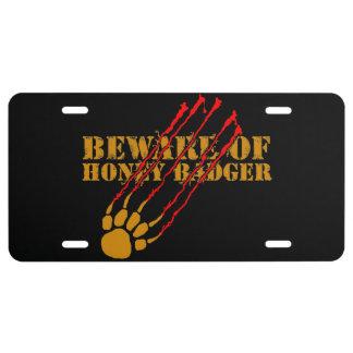 Beware of honey badger license plate