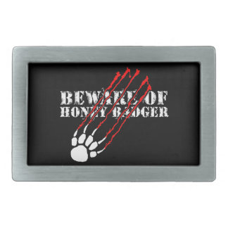 Beware of honey badger rectangular belt buckle