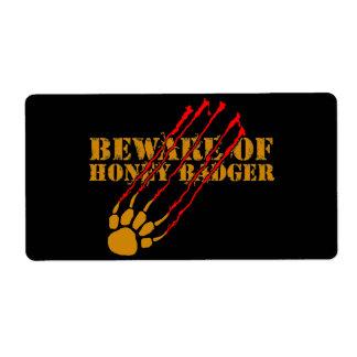Beware of honey badger shipping label