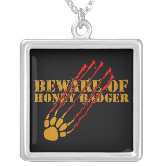 Beware of honey badger silver plated necklace