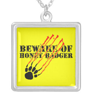 Beware of honey badger square pendant necklace