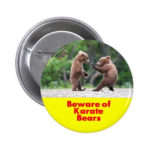 Beware of karate bears pinback button