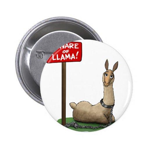 Beware of LLama! Pinback Buttons