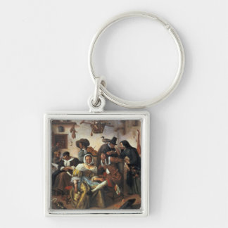 Beware of Luxury, c.1663 Silver-Colored Square Keychain