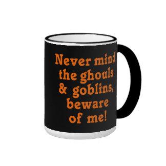 Beware of Me Halloween Ringer Coffee Mug
