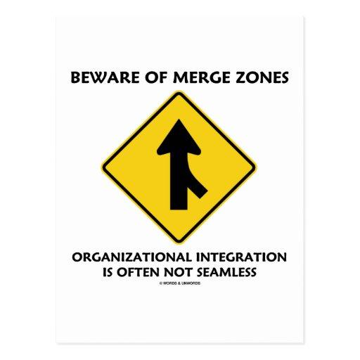 Beware Of Merge Zones Organizational Integration Postcard