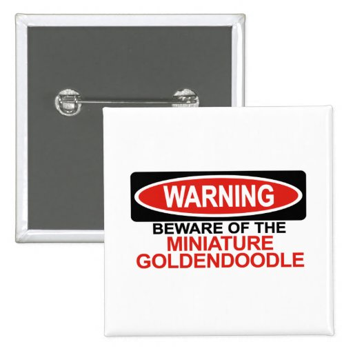Beware Of Miniature Goldendoodle Pinback Buttons